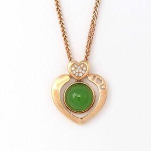 14kNephriteGreen Jade Heart Shape diamond Pendant